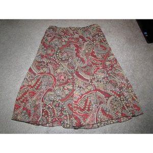 Dressbarn brown pink red floral skirt size 14